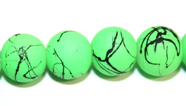 42pieces x 10mm neon green colour rubber coated glass beads with black abstract design -- 3005007